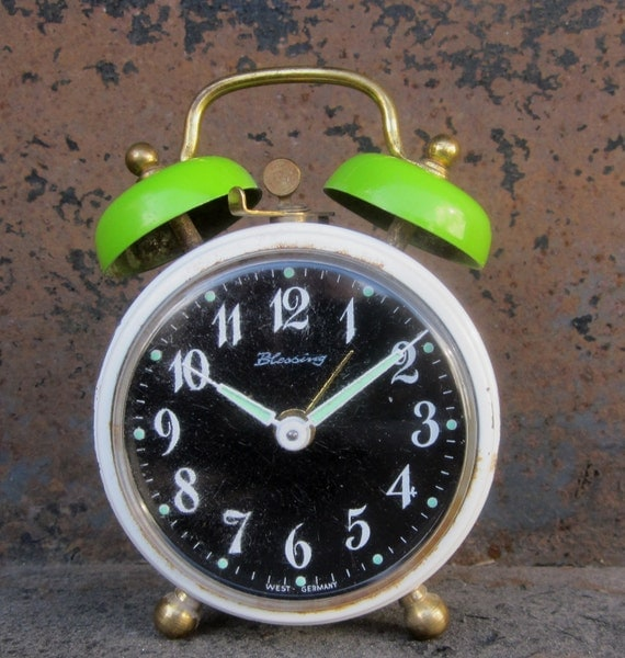 Vintage 1950's Classic Metal Wind Up Alarm Clock by Blessings w/Glow-in-the-Dark Hands