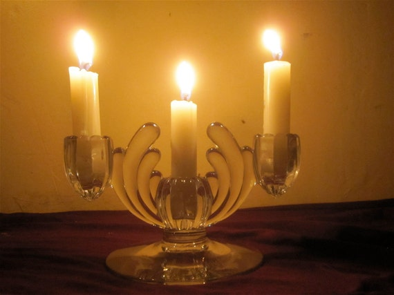 Vintage 1930's-1940's  Art Deco Glass Candle Holders - Wedding Reception Table Accent