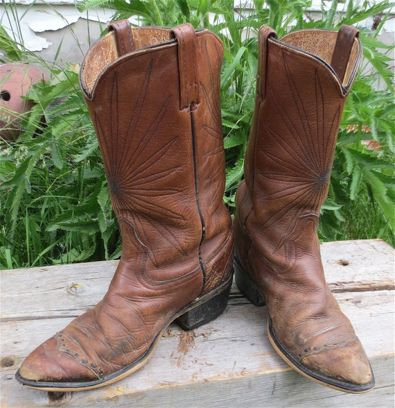 Vintage Acme Montana Distressed Brown Cowboy Boots-Western Shit Kickin' Man's Boots 8D