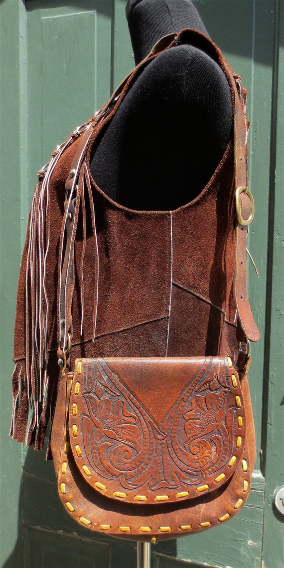 Vintage 1960's Hand Tooled Leather Western Purse-Brown Hippie Shoulder Bag w/Buckles