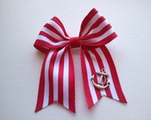 Red and White Stripes Nautical Sailor Anchor Hair Bow // ONLY 5 BUCKS