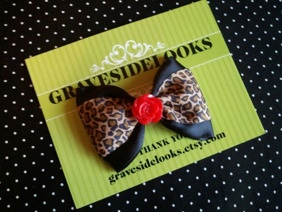 Leopard Print Rockabilly Baby Hair Bow with Red Rose