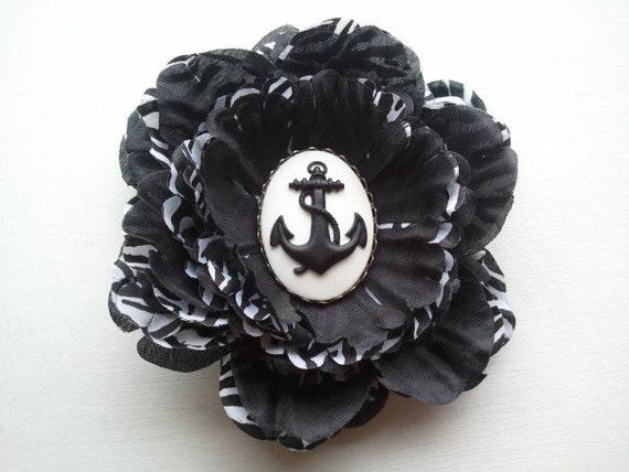 Rockabilly Pinup Zebra Print Hair Flower with Anchor