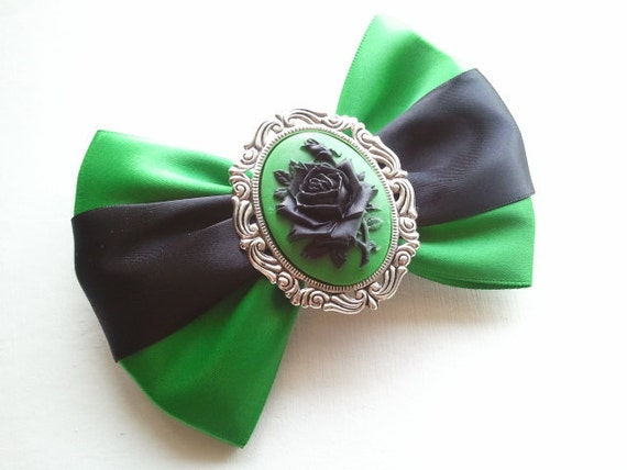 Reserved For M. Berry // Black over Green Gothic Victorian Rose XL Hairbow