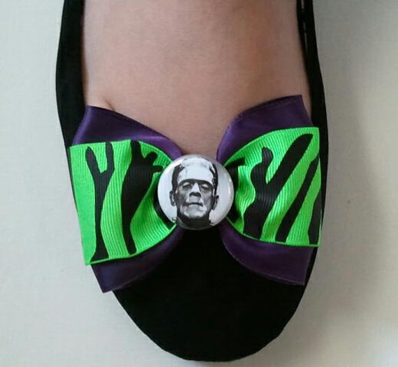 Rockabilly Psychobilly Neon Green Monster Stripes Frankenstein OR His Bride SHOE CLIPS