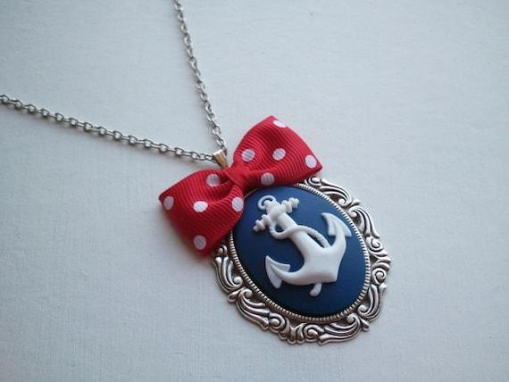 Cute Kawaii Rockabilly Anchor Necklace