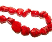 Red Howlite Mock Turquoise Bead 25-30 mm 15 pieces destash SALE