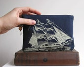Pirate Ship Change Purse Screenprinted Recycled