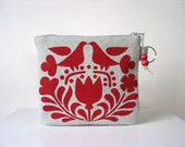 Red Scandinavian Print Recycled Denim Changepurse with Key Ring