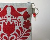 Recycled Denim Red Scandinavian Print Changepurse Seconds Sale