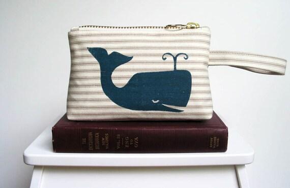 Whale Screenprint Natural Ticking Stripe Cotton Zipper Clutch