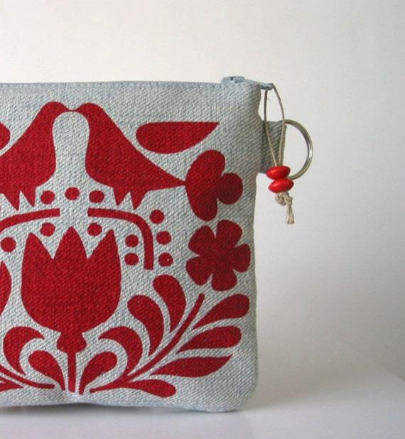Recycled Denim Red Scandinavian Print Changepurse Seconds Sale