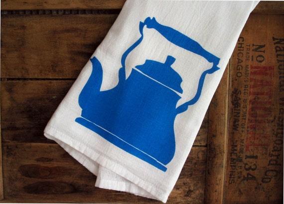 SECONDS SALE Blue Teakettle Screenprint Cotton Kitchen Dishtowel