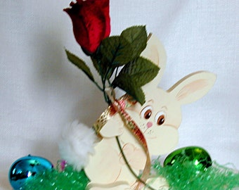 Bunny w Red Velvet Rose delivered with A Smile by the Easter bunny