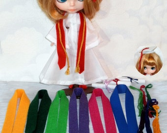 GRADUATION gown n cap choice Sash Color 5 pc for Blythe Licca Stacie n more