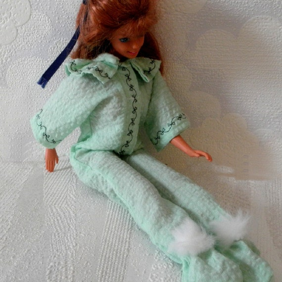 FOOTED PAJAMAS Barbie n Friends Mint Green w Embroidery