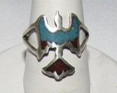 Vintage Tourist Trade Southwest Style Ring - Turquoise & Coral - FREE SHIPPING