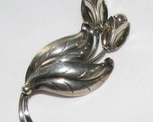 Vintage Sterling Denmark Flower Pin - FREE SHIPPING