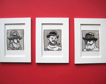The Fishermen of Southwold II framed set of limited edition screen-prints