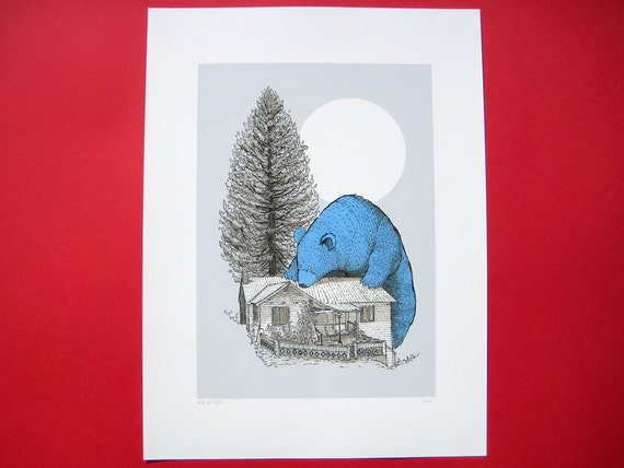 The Giant Blue Bear of Portola limited edition giclée print