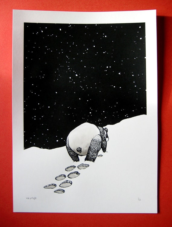 The Loneliness of the Long Distance Panda limited edition screenprint with individual ink wash