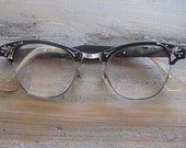 50's Eye Glasses Black and Silver Toned