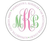 Monogram Address Label Stickers - Two Color