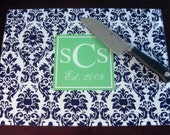Large Personalized Cutting Board - Reverse Damask - Design Your Own