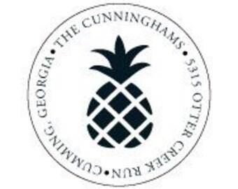 Pineapple Address Label Stickers Custom - Black