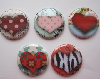 Magnets set of 5 button  mini 1 inch or 1.25 inch heart magnets you choose the size