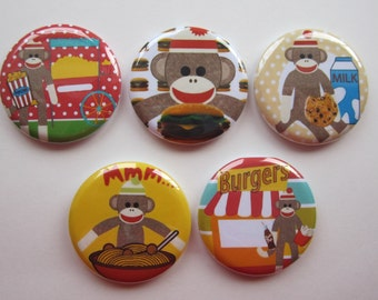 Magnets set of 5 button  mini 1 inch or 1.25 inch sock monkey magnets you choose the size