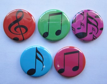 Magnets set of 5 button  mini 1 inch or 1.25 inch music magnets you choose the size