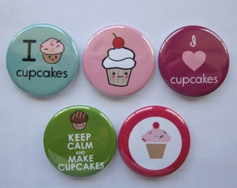 Magnets set of 5 button  mini 1 inch or 1.25 inch cupcake magnets you choose the size