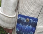 Natural merino wool and silk felted Pouch purse
