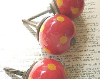 ceramic drawer pull, red polka dot cabinet hardware, cabinet pulls