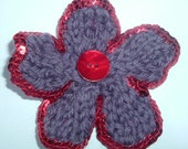 Purple and Red Sequinned Corsage Brooch