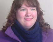 Unisex Navy Blue Cowl or Circle Scarf