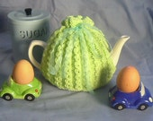 Spring Tea Cosy In Pale Green Yarn and Aqua Ribbon - Made to Order