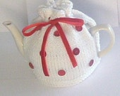 White and Red Tea Cosy - Made to Order