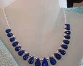 Lapis Lazuli Graduated Briolettes and Sterling Silver Necklace
