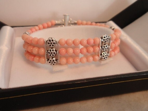 Pink Coral And Sterling Silver Bracelet