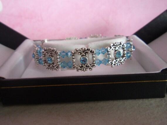 Swarovski Aquamarine And Silver Plate Bracelet