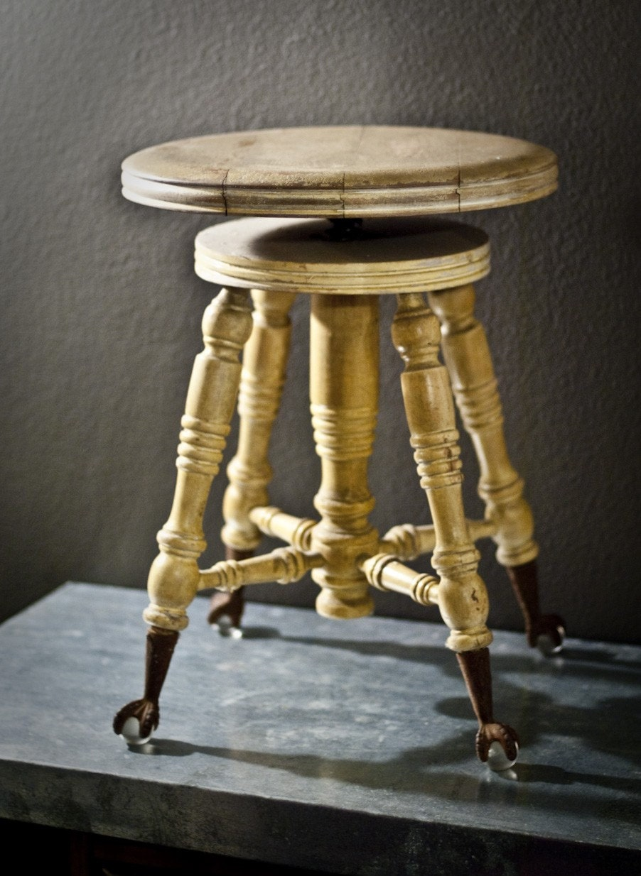 Antique Glass Ball Clawfoot Piano Stool By Twoartdirectors