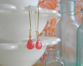 Watermelon and Cantaloupe Earrings.  Gold.