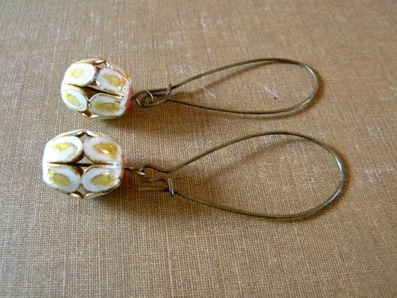 Cloissone Barrel Earrings. White and Yellow.