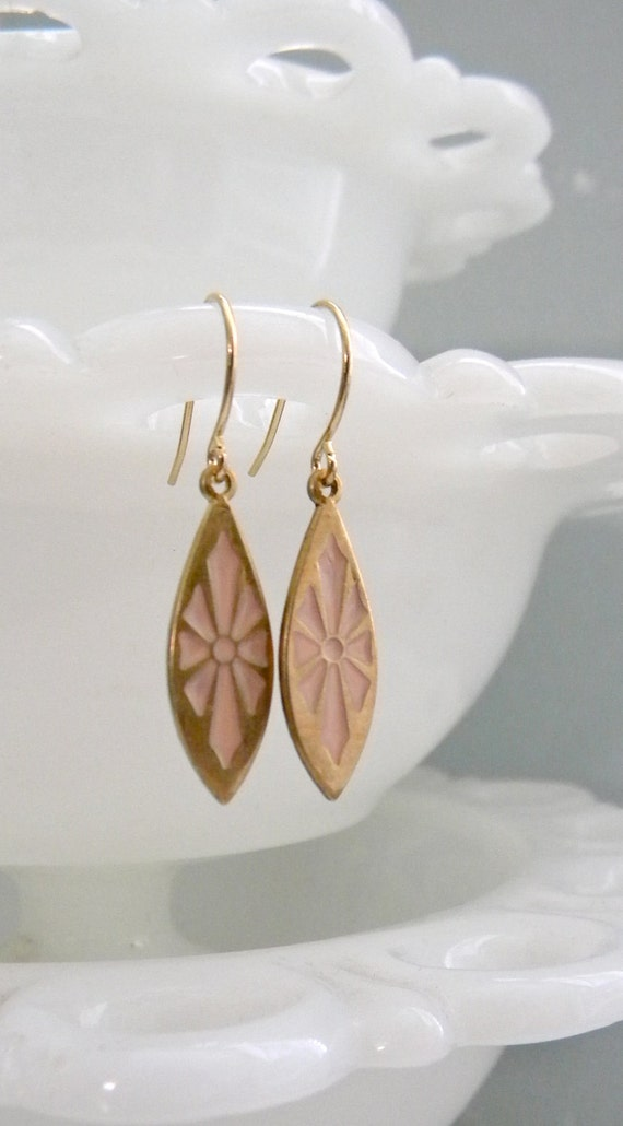 Pink Starburst Earrings.  Brass. Vintage.