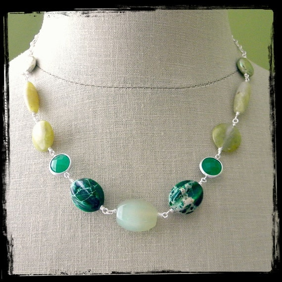 Shades of Green Necklace.  Silver.
