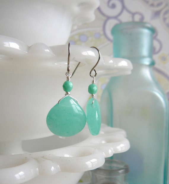 Mint Candy Jade Earrings.  Gold or Silver.  Brights Collection.