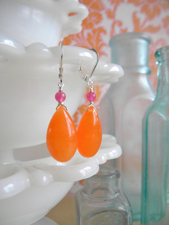 Tangerine Dream Earrings.  Silver.  Candy Jade.  Brights Collection.
