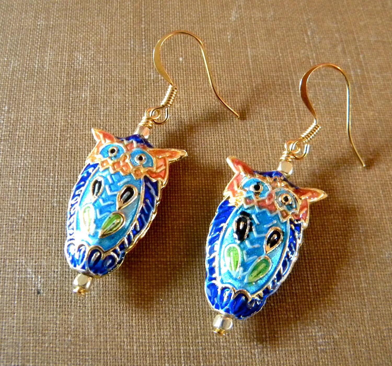 blue cloisonne owl earrings by ikeandco on etsy